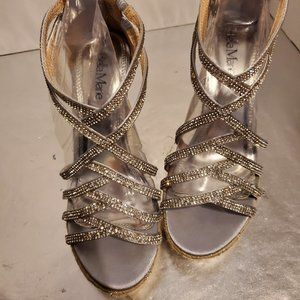Bella Marie Silver Sparkle Wedges